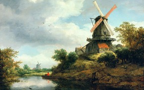 Picture picture, Jacob van Ruisdael, Landscape with a Windmill by the River, Jacob van Ruisdael