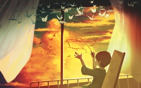 Picture the sky, birds, boy, hospital, origami