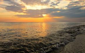 Wallpaper Russia, The black sea, Sea, Sunset, The sun, Beach, Clouds