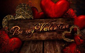 Picture background, tree, the inscription, plate, Board, heart, hearts, red, Valentine's day, Be my Valentine