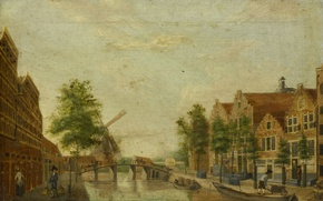 Picture oil, picture, canvas, the urban landscape, The Brewers canal in Amsterdam