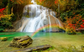 Picture autumn, forest, nature, waterfall, rainbow, stream