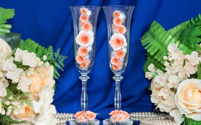 Picture flowers, roses, glasses, pearl, beads, Flowers, wedding, decor, wedding, decoration, stemware