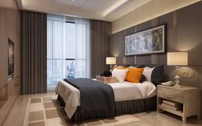 Picture room, cap, suitcase, curtains, BEDROOM