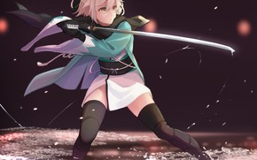 Picture girl, sword, game, anime, katana, ken, blade, blonde, warrior, manga, japanese, kimono, bishojo, Fate Grand …