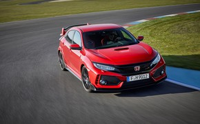 Picture red, asphalt, Honda, Civic Type R, 2l., track, 320 HP, the curb, 2017, lawn
