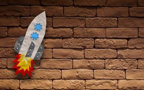 Picture Minimalism, rocket, Background, bricks
