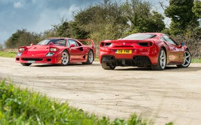 Wallpaper road, background, Ferrari, Ferrari, F40, GTB, 488