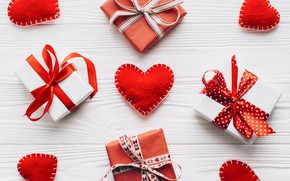 Wallpaper decor, Valentine's Day, composition, gift, boxes, hearts, hearts, holiday, gifts
