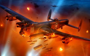 Picture night, Fire, Avro, heavy bomber, the beams from the spotlights, WWII, bombs, 683 Lancaster, the ...