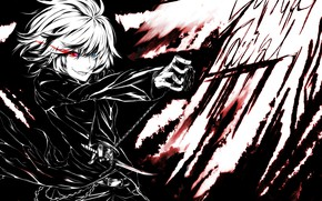 Picture attack, knives, madness, art, burning eyes, black suit, Touhou Project, hell of a grin, Sakuya …