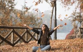 Wallpaper foliage, cutie, face, Joanna, autumn, model, hair