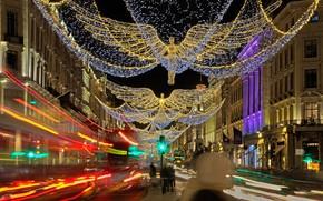 Wallpaper lights, Regent street, holiday, Christmas, England, London