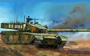 Wallpaper ZTZ-99A, the production version, 3 generations, modern Chinese main battle tank, Type 99A