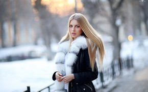 Picture winter, look, girl, long hair, Dmitry Arhar, Alena Filinkova