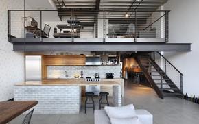 Wallpaper style, Industrial Loft, interior, loft, living space, kitchen, dining room