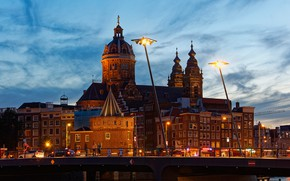 Picture the sky, bridge, lights, river, building, home, the evening, Amsterdam, lights, Netherlands, Palace