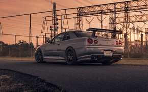 Picture Nissan, Car, Skyline, Sport, R34, Rear