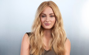 Picture background, portrait, makeup, actress, hairstyle, blonde, beauty, Sophie Turner, Sophie Turner