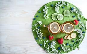 Picture flowers, berries, lemon, tea, hot, blueberries, strawberry