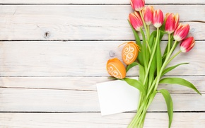 Picture decoration, wood, Easter, Easter, tulips, tulips, tender, Happy, spring, eggs