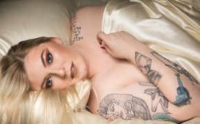 Picture girl, face, makeup, tattoo