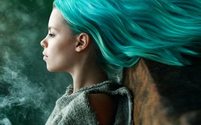 Picture hair, smoke, Masha Sidorova