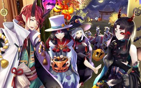 Wallpaper art, night, Halloween, anime, holiday