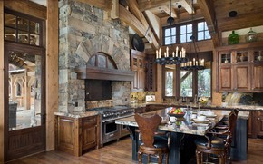 Picture metal, stone, wood, home, Montana, kitchen, Big Sky