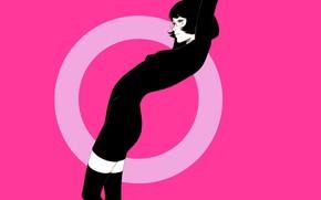 Picture girl, pose, haircut, round, brunette, glasses, black dress, pink background, black stockings, Ilya Kuvshinov
