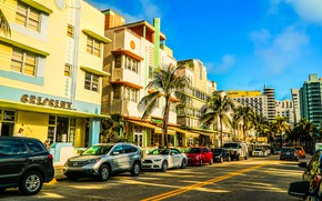 Picture road, the sky, the sun, machine, palm trees, transport, street, home, Miami, FL, USA