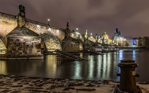 Picture river, promenade, lights, Czech Republic, night, Prague, lights, home, bridge