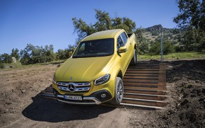 Picture yellow, earth, the descent, Mercedes-Benz, ladder, pickup, 2017, X-Class