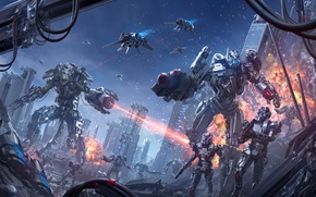 Picture the city, fiction, war, explosions, robots, cyborg, Mech