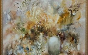 Picture flowers, picture, petals, fluff, vase, Still life, Sfumato, gift painting, Petrenko Svetlana, winter style