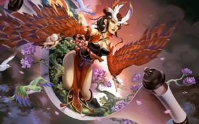 Picture chest, girl, bird, feet, wings, dress, art, scroll, onmyoji
