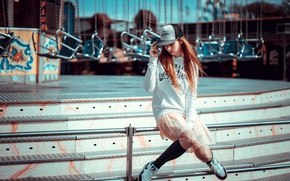 Picture girl, style, mood, carousel, baseball cap