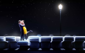 Wallpaper the sky, stars, light, night, creative, keys, pair, lantern, lovers, piano, romance, poster, Emma Stone, ...