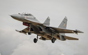 Wallpaper the plane, flies, the gray sky, Su-30MKI