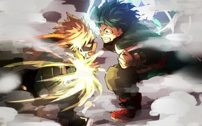 Picture anime, art, guys, the battle, Boku no Hero Academy
