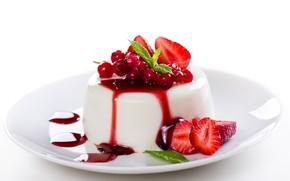 Picture berries, cream, dessert, syrup, Panna cotta