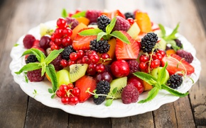 Wallpaper strawberry, currants, fruit, raspberry, berries, salad, dessert, fruit salad