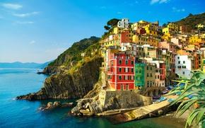 Picture sea, rocks, coast, home, Italy, Manarola, Liguria