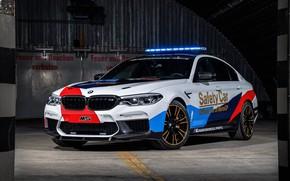 Wallpaper flashers, BMW M5, 2018, MotoGP, Safety Car
