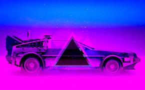 Wallpaper Auto, Music, Neon, Machine, Triangle, DeLorean DMC-12, DeLorean, DMC-12, DMC, Electronic, Synthpop, Darkwave, Synth, Retrowave, ...