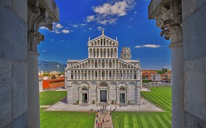Wallpaper Pisa, Italy, the view from the baptistery, tower, Tuscany, Cathedral