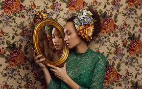 Picture girl, flowers, face, style, reflection, mood, mirror, lace