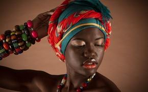 Picture girl, face, style, background, portrait, lipstick, lips, beads, bracelets, black