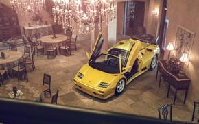 Picture Lamborghini, Yellow, Diablo, Supercar, Doors