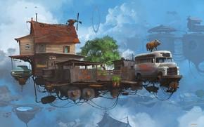 Picture pig, platform, small farm, Serie Universo Chatarra, Little farm